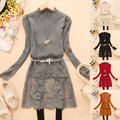 Free shipping 2017 New Beautiful Lace Patchwork O-Neck Long Sleeve Long Sweater Women Fashion Bottoming Knitted Sweaters