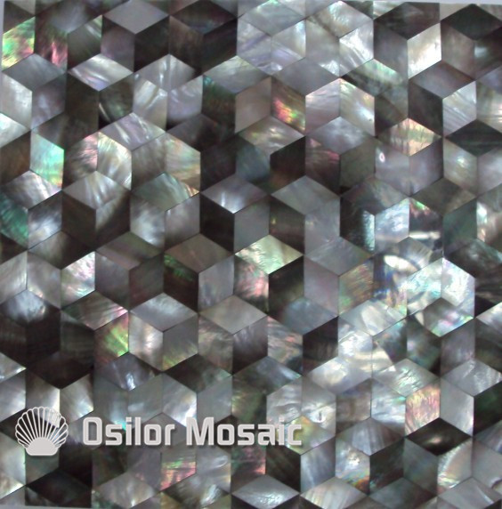 Natural black color triangle pattern 100% sea shell black mother of pearl tile for interior house decoration wall tile white color natural 100% capiz shell mother of pearl mosaic tile for living room or ceiling