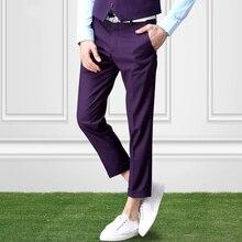 Pre Sale Men Dress Pants Slim Fit Formal Fashion Business Pant Ankle-knee Suits Trousers Wedding Groom Thin MC Trouser 36