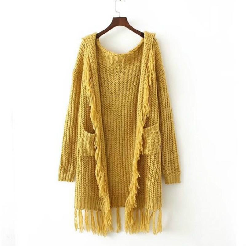 Casual knitting long cardigan female Loose kimono cardigan knitted jumper 2017 warm winter tassels hooded sweater women cardigan