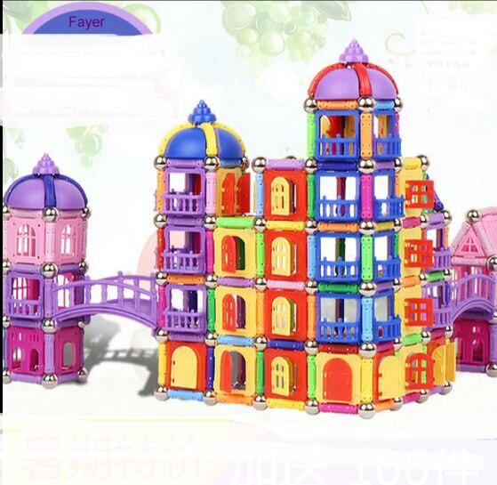 LFAYER 566 adet 208 adet 418 adet manyetik sopa oyuncak yapı taşı şekil çocuk erken eğitim inşaat oyuncak