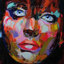 Palette knife painting portrait Face Oil Impasto figure on canvas Hand painted Francoise Nielly 12-39