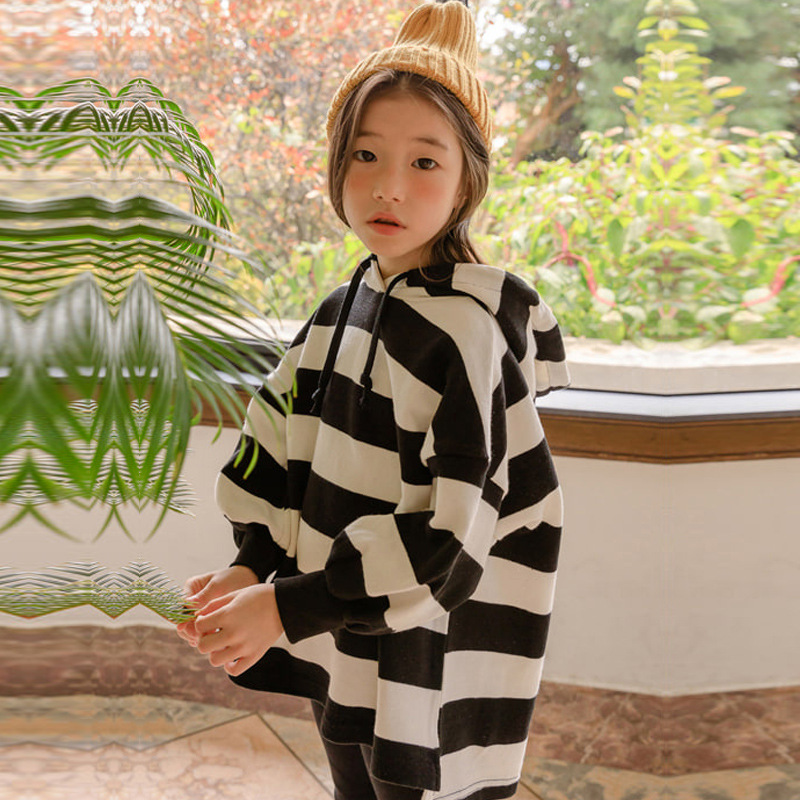 Children's Long Sleeve Pullover Sweatshirt For Girls INS Striped Hooded Fashion Hoodies Tops Clothes for Big Age Girl Teens pudcoco baby girls kids casual long sleeve hoodies clothes rainbow striped o neck pullover sweatshirt tops