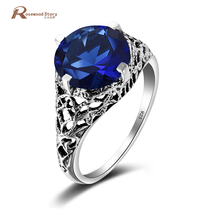 sale 925 sterling silver wedding crown crystal ring anime blue stone couple rings for women vintage jewelry valentines day gift in rings from jewelry - Anime Wedding Rings