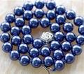 Горячие продажи новый Стиль>>>>> Красивая! 10 ММ Темно-синий Sea Shell Жемчужное Ожерелье AAA