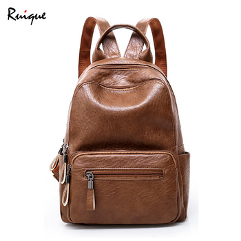 Ruique High Quality PU Leather Backpack Girls Preppy Style School Bag Women Simple Casual Large Capacity Travel Backpacks