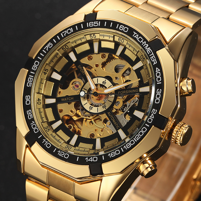 Luxury Brand WINNER Antique Skeleton Mechanical Watches Men Stainless Steel Golden Band Wristwatch Relogio Masculino luxury brand golden winner luminous automatic mechanical skeleton dial watch mens stainless steel bracelet band men wristwatch