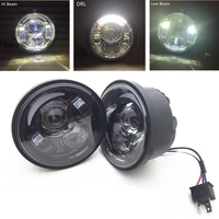 5 Inch Dual LED Headlight For Fat Bob FXDF 08 later Motorcycle Fatbob Projector Headlamp White DRL