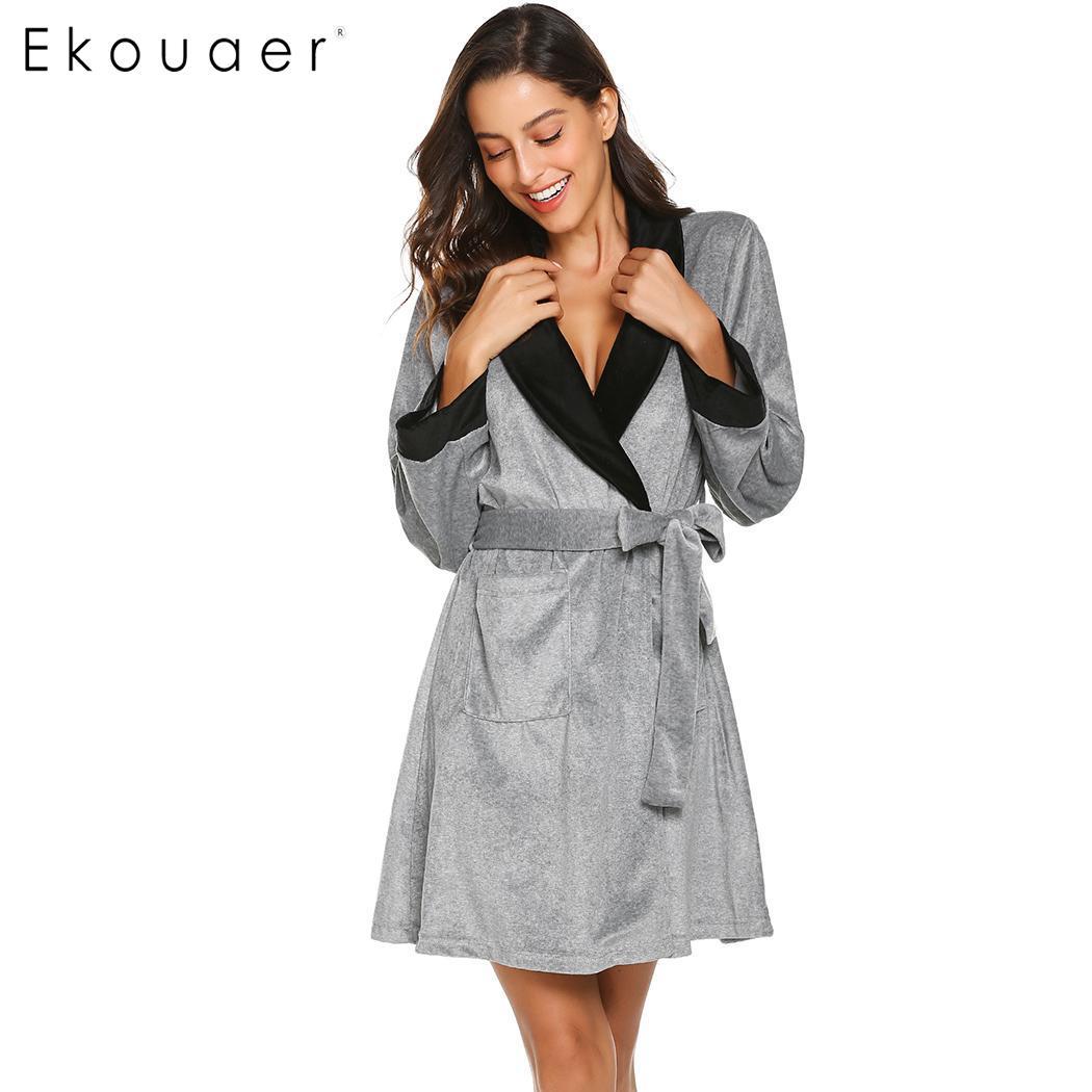 72266cfe00 Ekouaer Women Robe Sleepwear Shawl Collar Bathrobe Nightwear Casual Long  Sleeve Spa Robes Dressing Gown Female Homewear Winter