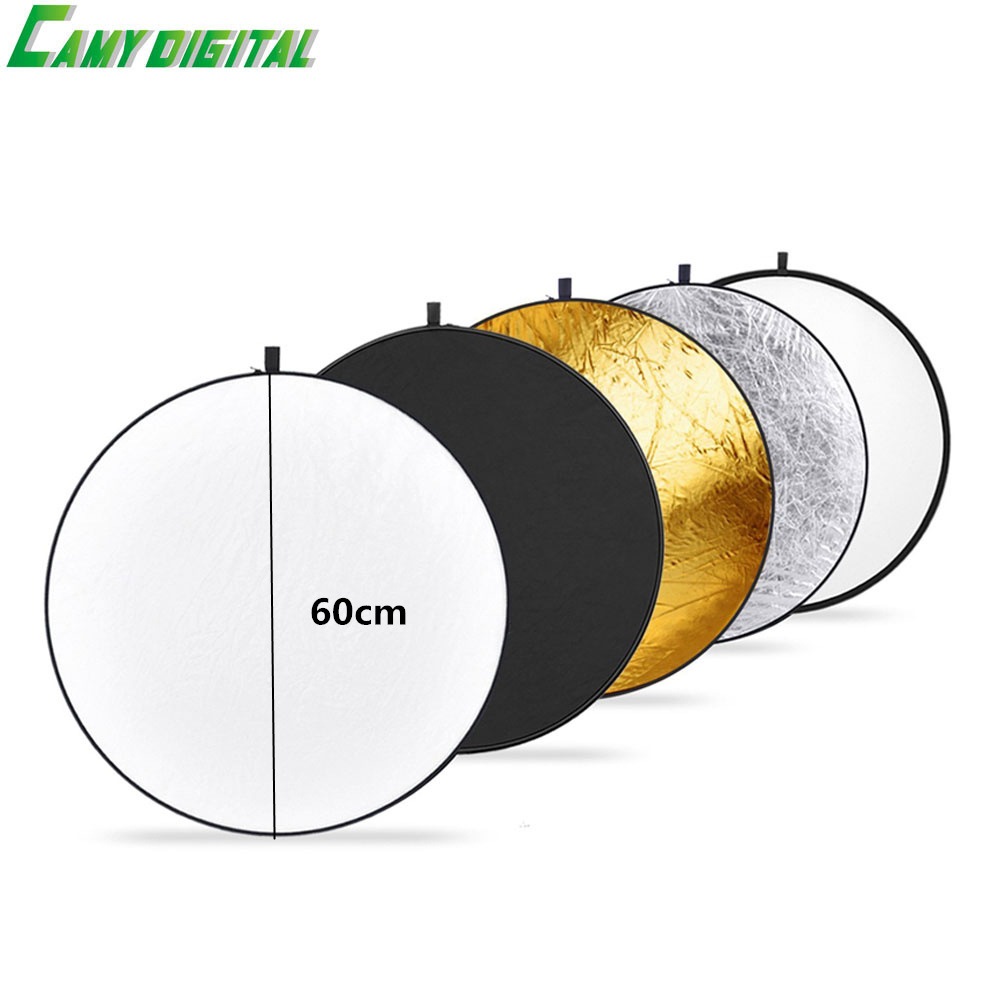 23/60cm Studio Flash Accessories 5in1 Gold/Silver/Black/White/Translucent Reflector Board Dish Plate circular For photography