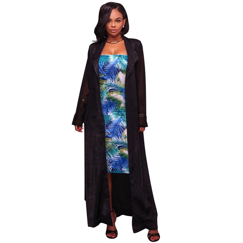 autumn chiffon sleeve long trench outwear-5