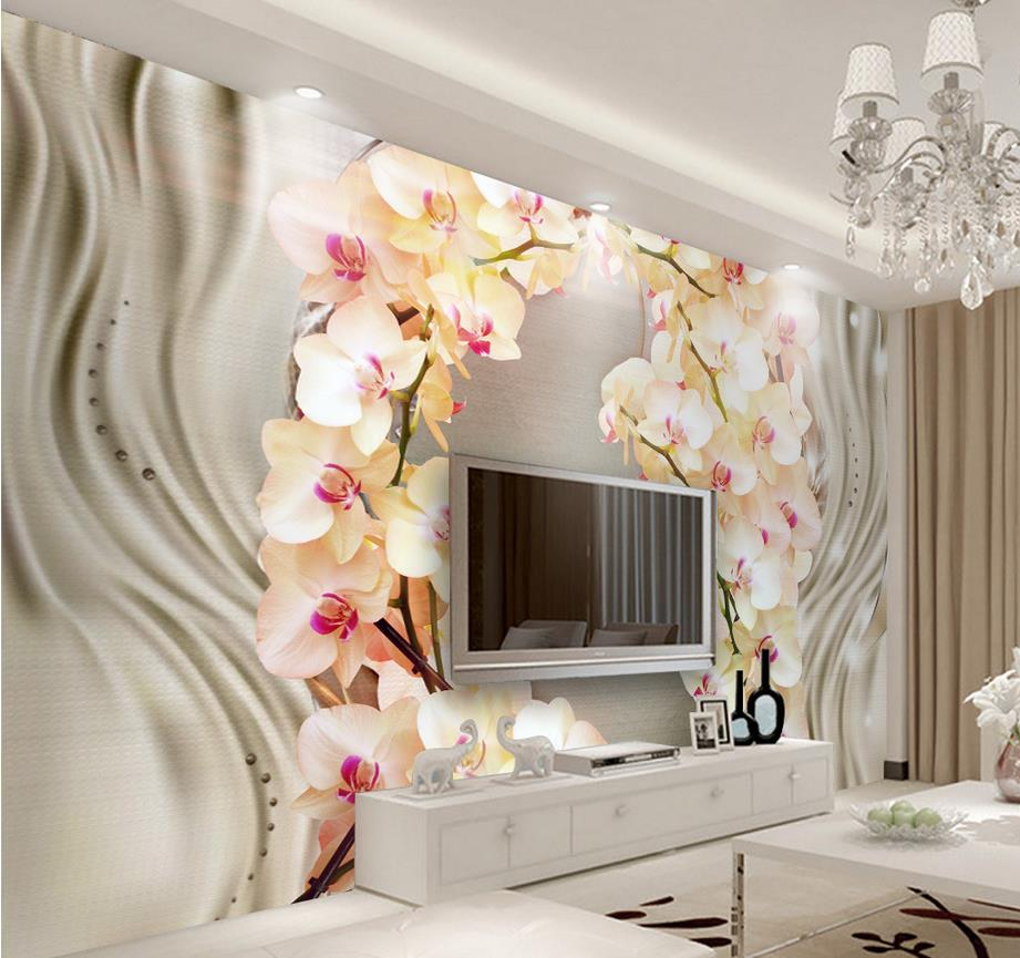 custom 3d luxury wallpaper Silk orchid flower TV ...