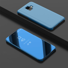 J6+ Smart Mirror Case For Samsung Galaxy J6 Plus Clear View Flip Stand PU Leather Cover
