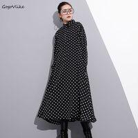 Black Polka Dot Print Dress Long Sleeve 2018 Spring Women Vintage A Line Midi Vestidos Turn