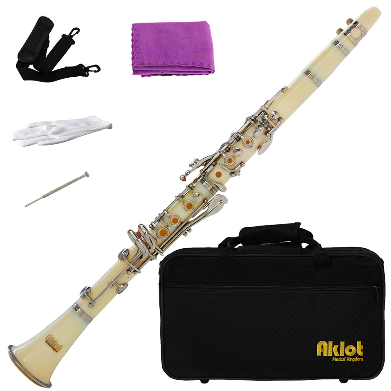 Aklot Bb Beginner Clarinet 17 Keys with Durable White ABS Body with Reed Best for Student Music Education