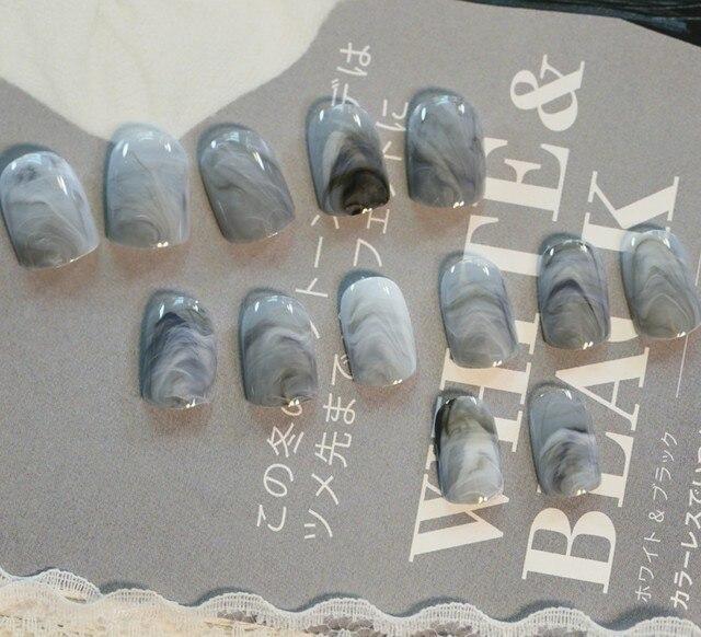 24 Pcs/Set Grey Marble Color False Nail Art Design Tips French ...