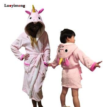 Baby Bathrobes For Girls Pajamas Winter Unicorn Hooded Beach Towel ...