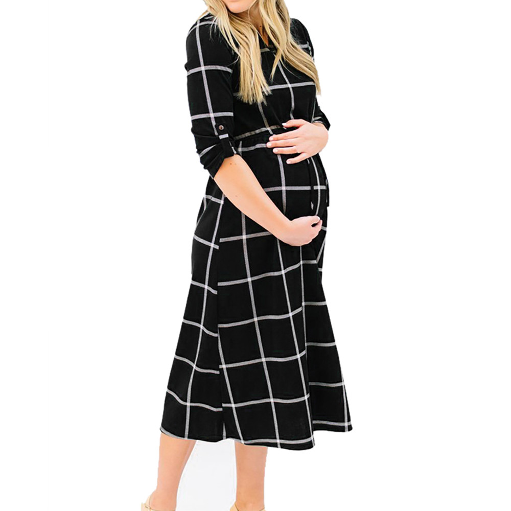 Loose Womens Dresses Pregnant Sexy Fashion Printed Props Casual Nursing Boho Chic Tie Long Dress in Black Colour Soft Warm
