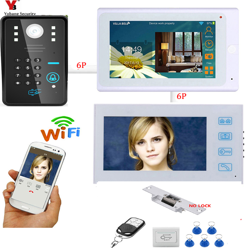 все цены на YobangSecurity 2X 7 Inch Monitor Wifi Wireless Video Door Phone Doorbell Camera Video Door Entry Intercom KIT Electric Door Lock онлайн