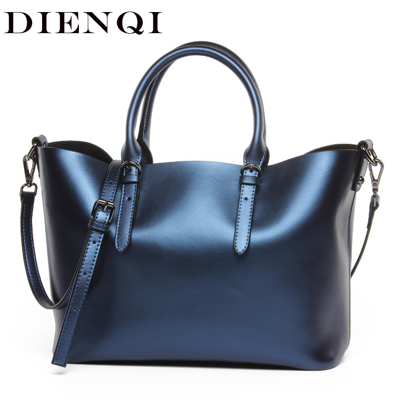 DIENQI Genuine Leather Handbag Women Shoulder Bag High Quality Big Messenger Crossbody Bags Female Large Tote Ladies Hand Bags 2017 new elegant handbag for women high quality split leather female tote bags stylish red black gray ladies messenger bag