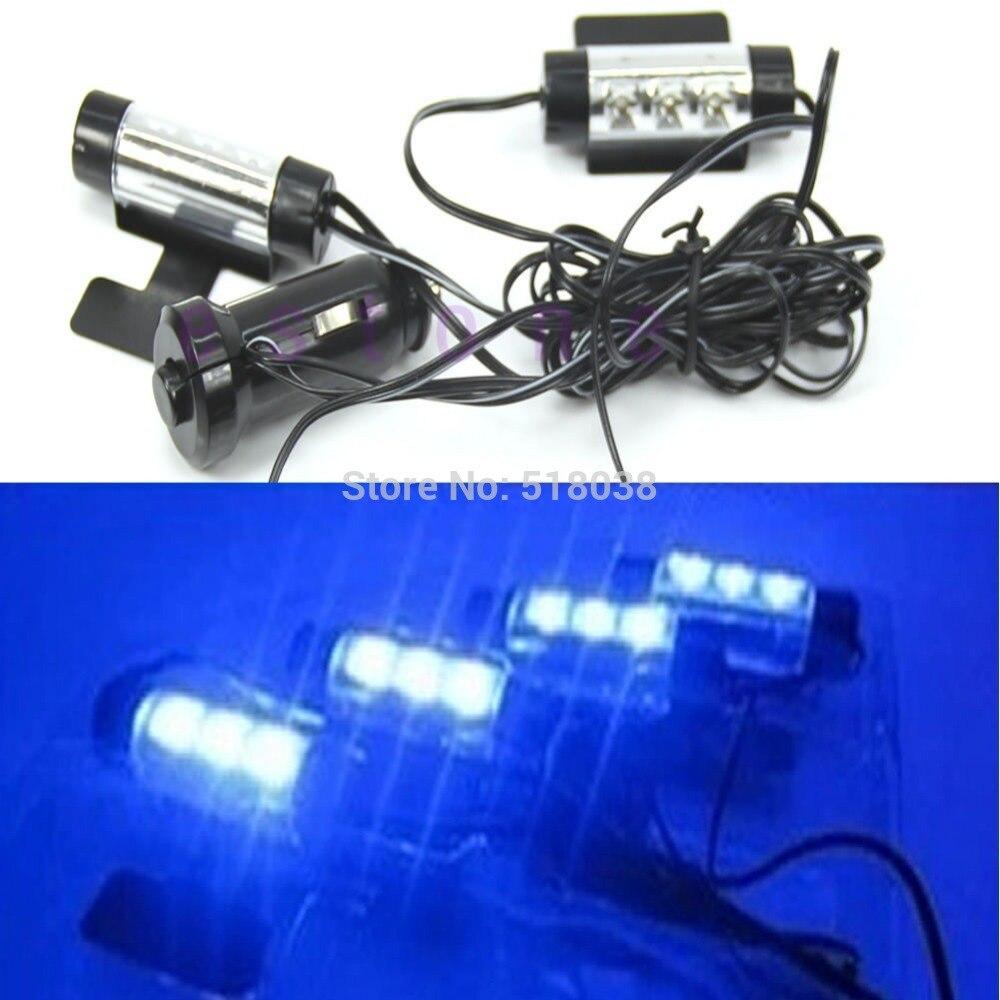 4x3led carro decoração interior lâmpada 12v azul brilho carro carga 4 em 1 atmosfera de luz