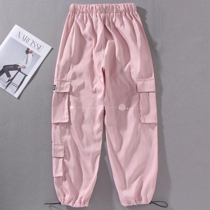 2020 Spring Streetwear Loose Hip Hop Cargo Pants Women Harajuku BF Spring Big Pocket Hearm Pants High Waist Female Trousers