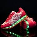 Mujeres Zapatos para Adultos de Las Mujeres Zapatos Casuales Led Luminoso Led zapatos 2017 de La Manera Caliente Llevó la Luz de Zapatos Tenis Femenino Tamaño 35-40