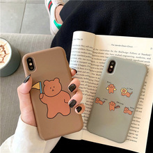 Cartoon bear silicone soft phone case for iphone 8plus 7plus 8 7 funny matte thick cellphone coque 6 x xs max xr