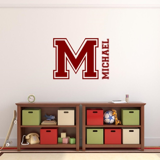 Customized Kids Name And Initial Wall Decals Bedroom Living Room Wall Art  Personalized Boy Name Vinyl