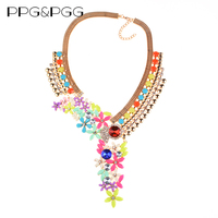 PPG&PGG New Women Maxi Design Chunky Chain Crystal Flower Necklace Long Choker Bib Collar Lady Dress Accessories