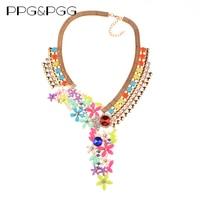 2016 New Women Maxi Design Gold Plated Chunky Chain Crystal Flower Necklace Long Choker Bib Collar