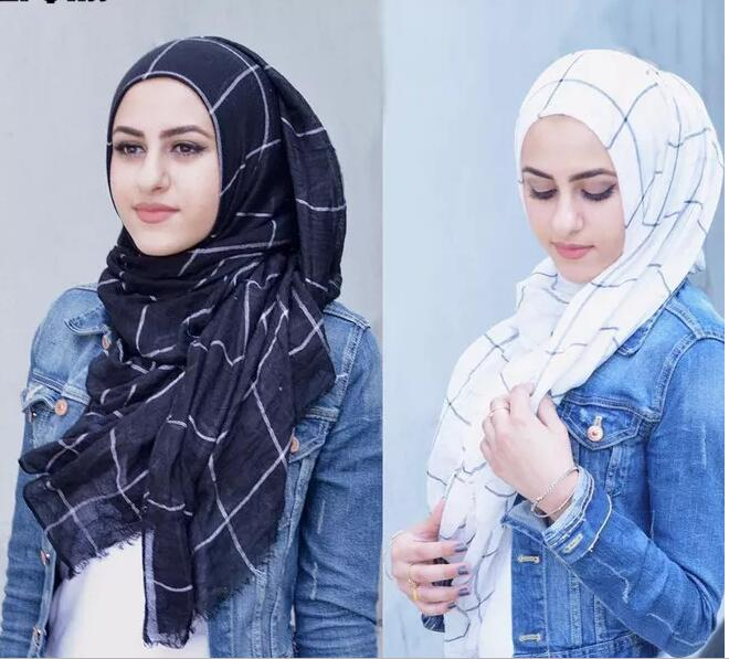 1pc Classic Plaids Tartan Cotton Voile Muslim Hijab Scarf For Ladies Long Cross Strips Double Color Islamic Hijabs Shawl Wrap