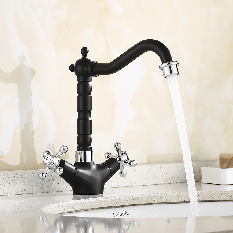 Basin Faucet Chrome/Chrome and black Brass Crane Bathroom Sink Faucet 360 Degree Swivel Dual Handle Kitchen Washbasin Mixer Taps basin faucets black oil brass bathroom sink faucet 360 degree swivel dual handle kitchen washbasin mixer taps knf360