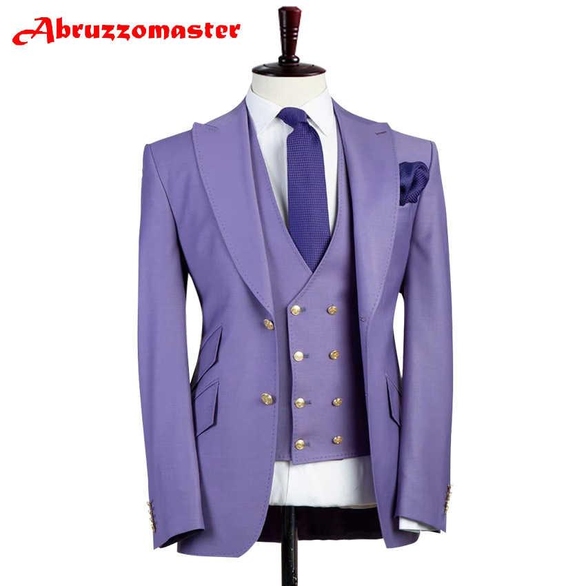 Klasik Erkek Takım Elbise Terzi Takım Elbise Pesked Yaka Damat Smokin Kenar Ceket Düğün Giysileri Tilt cep Damat Takım Elbise 3 Adet Yemek takım elbise