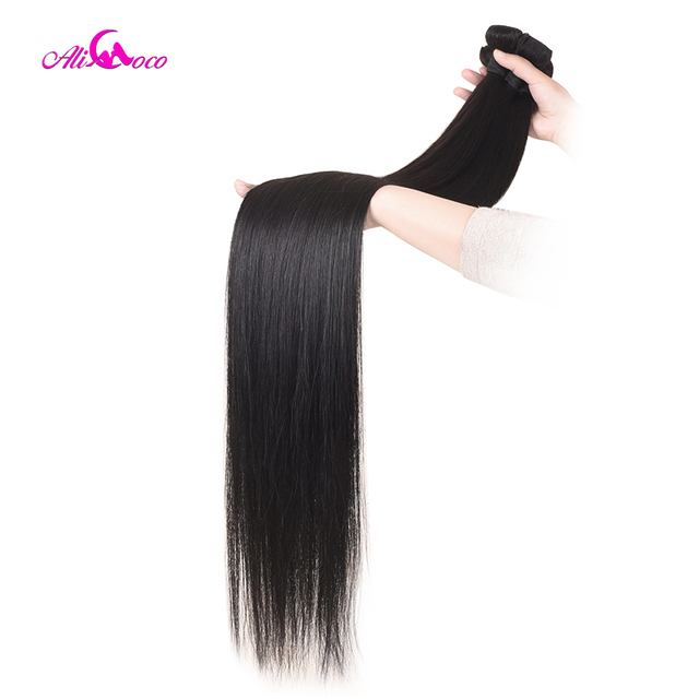 Ali Coco Straight Hair 8 40 Inch Human Hair Extensions 28 30 32 34 36 38 Inch Brazilian Hair Weave Bundles Non Remy