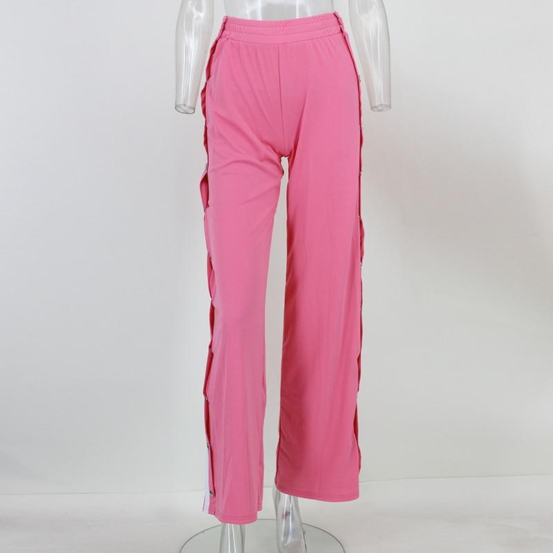HTB1 i4NSpXXXXXxapXXq6xXFXXX9 - Red button track pants runway Women's wide leg trousers casual pants JKP012