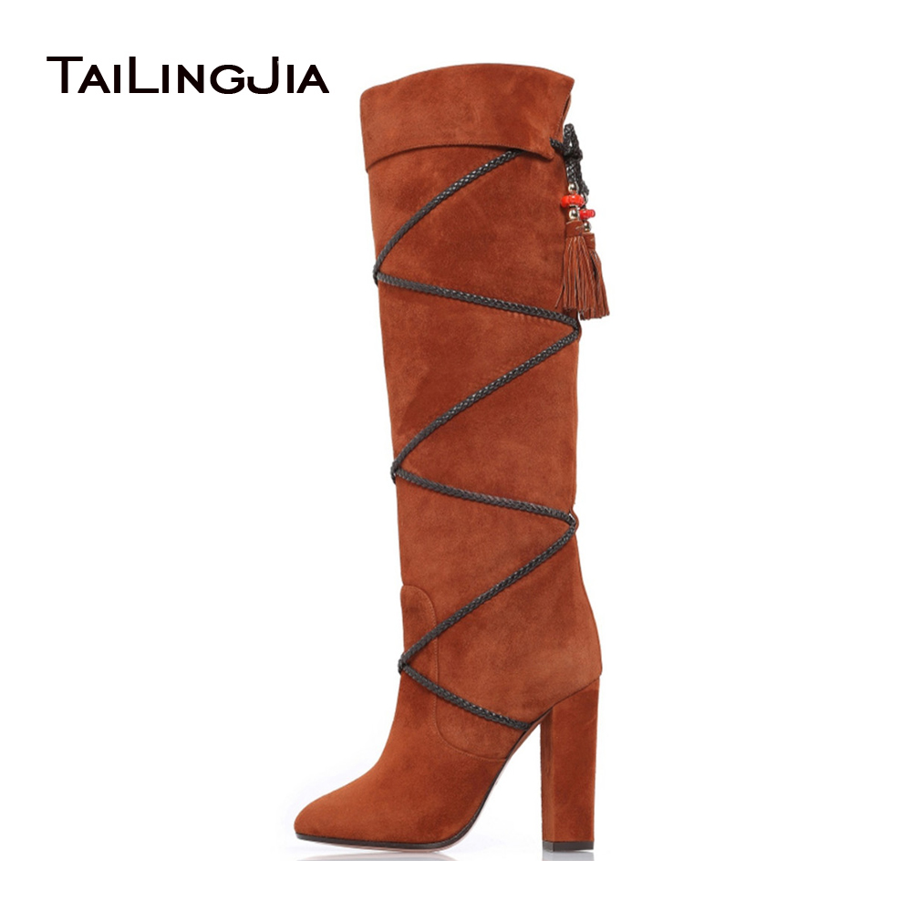 цена на Brown Chunky Heel Knee High Boots for Women Black Round toe Slip on High Heel Tassel Fold Boots Ladies Winter Shoes Large Size