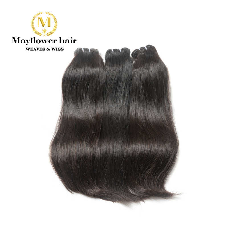 "Mayflower Double drawn Malaysian Straight Virgin hair 8-20"" mixing length 1/2/3/4 bundle Natural color full cuticle raw hair"