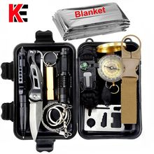 Outdoor survival kit Set Camping Travel Multifunction First aid SOS EDC Emergency Supplies Tactical for Wilderness tool garget(China)