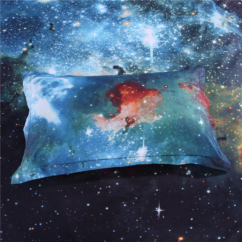 iDouillet 3D Nebala Outer Space Star Galaxy Bedding Set 2/3/4 pcs Duvet Cover Flat Sheet Pillowcase Queen Twin Size 15