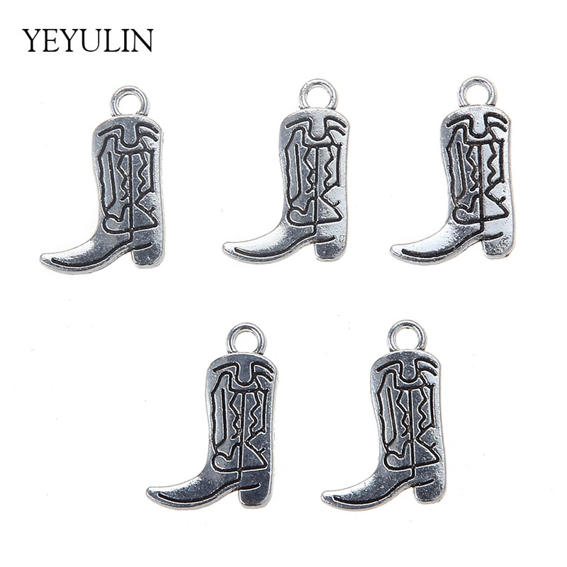 New Design 14x27mm Silver Color Alloy Boots Pendant Charms For Making Jewelry DIY 30pcs Accessories Wholesale