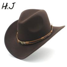 3 größe frauen männer Wolle Hohl Western Cowboy Hut Mit Mode Gürtel Gentleman Dame Jazz Cowgirl Toca Sombrero kappe cheap HXG JQX Unisex CN (Herkunft) Erwachsene Cowboyhut Beiläufig Fest 57-58CM adjused size 10CM 52-54CM 56-58CM 59-60CM
