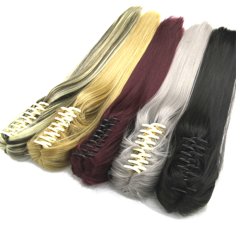 Soowee 60cm Long Straight Synthetic Hair Claw Ponytail False Hair On Clips Fairy Tail House Pony Tail Hair On Clips