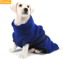 Petshy Dog Bathrobe Super Absorbent Pet Drying Towel Thickened Cat Hoodie Nightgown Pajama Clothes Pets Bath Blue