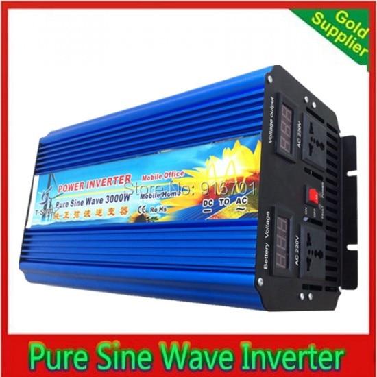 цена на 3000W peak power 6000W 12V DC to 230V AC Pure Sine Wave Inverter