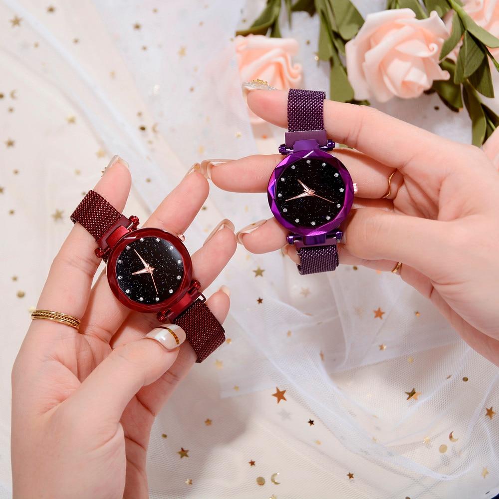 Luxury Rose Gold Women Watch Magnet Starry Sky Wrist Watch For Ladies Female Wristwatch Women Gold Reloj Mujer Relogio Feminino