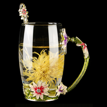 Exquisite Floral Eco-Friendly Glass Coffee Mug
