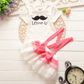 New 2016,Baby girl clothes ,Summer clothing,kids dresses for girls,baby girl set,2pcs T-shirt + dress set,For 6M-3T