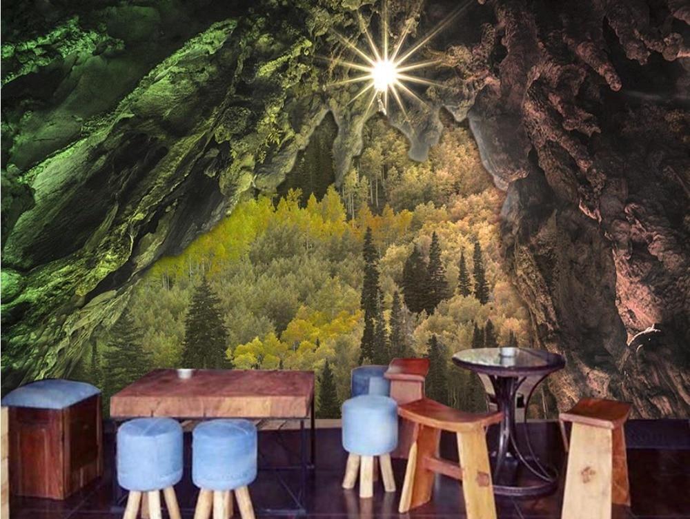 Virgin forest 3d Landscape Wallpaper Cave stone abstract Wallpaper papel de parede do desktop nonwoven living room 3d wallpaper beibehang large custom wallpaper hd dream forest giraffe elephant elk 3d landscape painting papel de parede do desktop