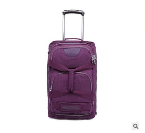 Rolling Luggage Bag  Travel Boarding Bag On Wheels  Travel Cabin Luggage Suitcase Nylon Wheeled Trolley Bag Travel Tote